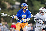 Los Angeles, CA 04/02/10 - Oisin Lewis (UCSB #2) and Michael Hanover (LMU #25) in action during the UCSB-LMU MCLA SLC conference lacrosse game at Loyola Marymount University.