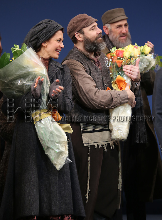 Jessica Hecht, Danny Burstein and Mitch Greenberg during the Broadway Opening Night Performance Curtain Call bows for 'Fiddler On The Roof'  at the Broadway Theatre on December 20, 2015 in New York City.