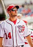8 July 2017: Washington Nationals outfielder Chris Heisey awaits the start of play prior to a game against the Atlanta Braves at Nationals Park in Washington, DC. The Braves shut out the Nationals 13-0 to take the third game of their 4-game series. Mandatory Credit: Ed Wolfstein Photo *** RAW (NEF) Image File Available ***