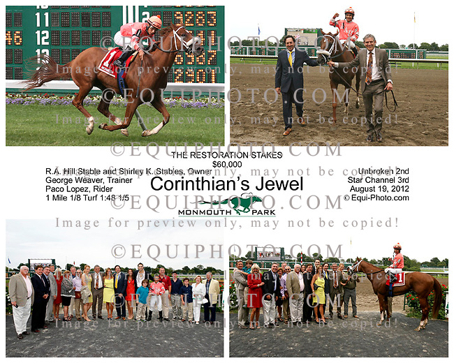 Corinthian's Jewel with Paco Lopez riding won the Restoration Stakes at Monmouth Park on 8/19/12.  Photo By EQUI-PHOTO