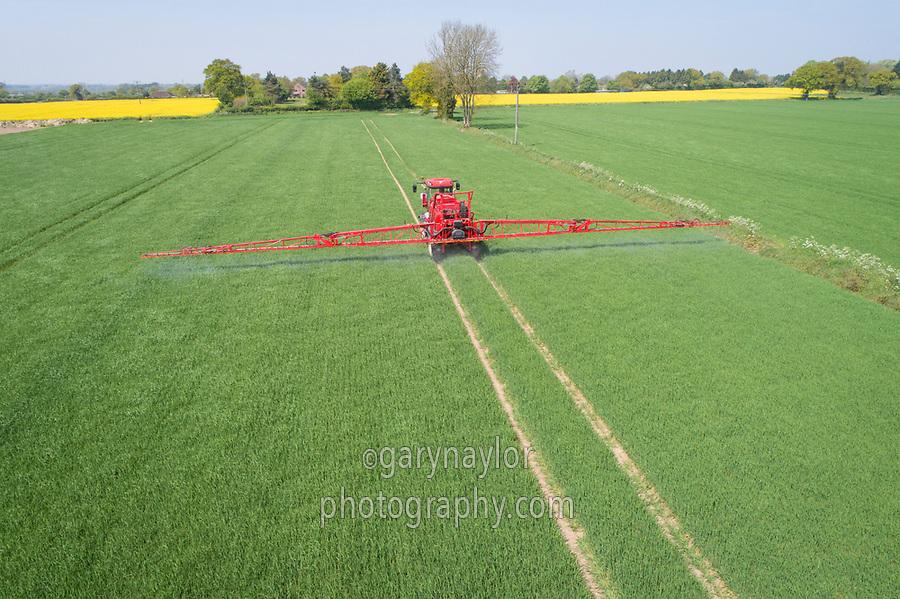Spraying fungicide onto winter Barley - Norfolk, May