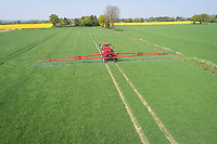 Spraying fungicide onto winter Barley - Norfolk, May