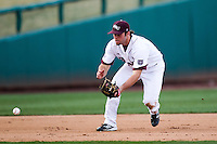 Brent Seifert (4) of the Missouri State Bears eyes a ground ball during a game against the Oklahoma State Cowboys at Hammons Field on March 6, 2012 in Springfield, Missouri. (David Welker / Four Seam Images)