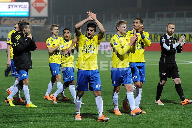 LEEUWARDEN - Voetbal, SC Cambuur - RKC Waalwijk,  Cambuur stadion, seizoen 2013-2014, 14-03-2014,  Cambuur viert de zege en bedankt de fans