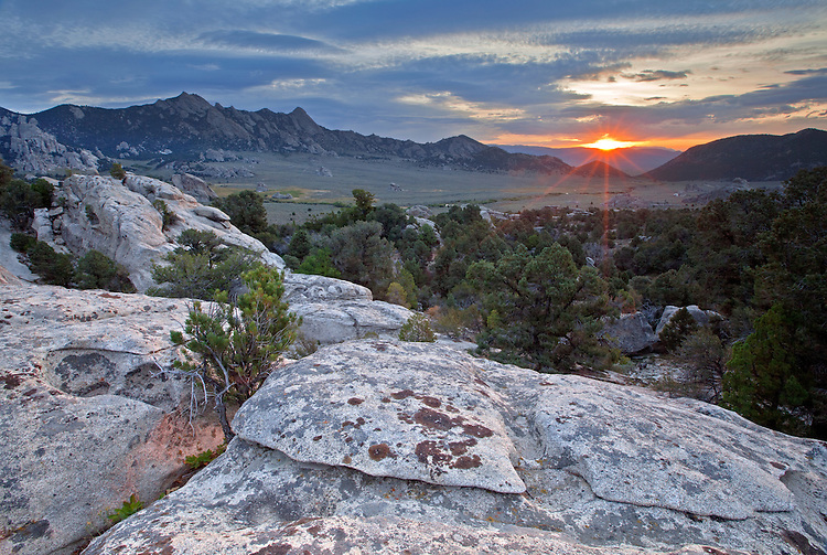 The sunrises over the City of Rocks National Reserve in Idaho, USA