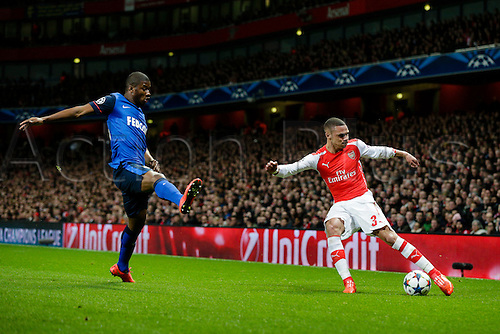 25.02.2015.  London, England. Champions League Football. Arsenal versus AS Monaco.  Arsenal's Kieran Gibbs gets a cross in