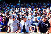 BOSTON, MASS. - SEPT. 28, 2014: Chris Kowalczuk (center) stands near the field before the New York Yankees and Boston Red Sox play at Fenway Park. Kowalczuk, who came to the game from Roanoke, Virginia, with friend Alan Moore (left), said he's a life-long Yankees fan. The game is last game of Derek Jeter's career. M. Scott Brauer for The New York Times