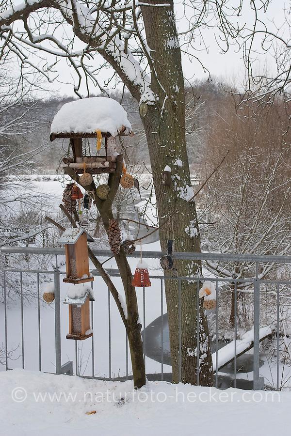 Vogel-Futterhäuschen, Futterhaus, Vogelfutter, Futterhäuschen  im Schnee, Winter auf Balkon