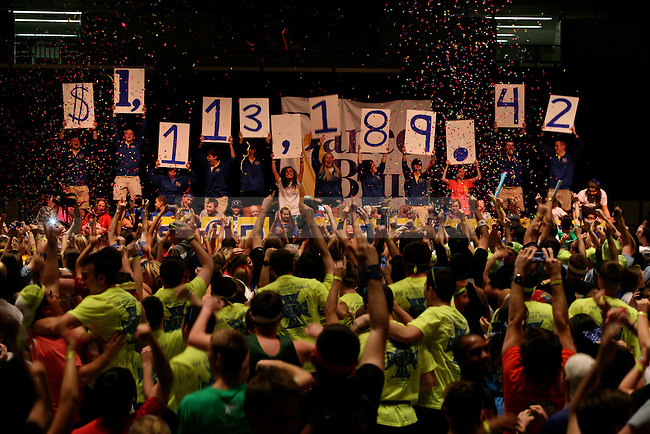 The final number is revealed during the last minutes of DanceBlue, a 24 hour dance marathon to raise money for pediatric cancer research at Memorial Coliseum in Lexington, Ky. on Saturday, February 23, 2013. Photo by Genevieve Adams