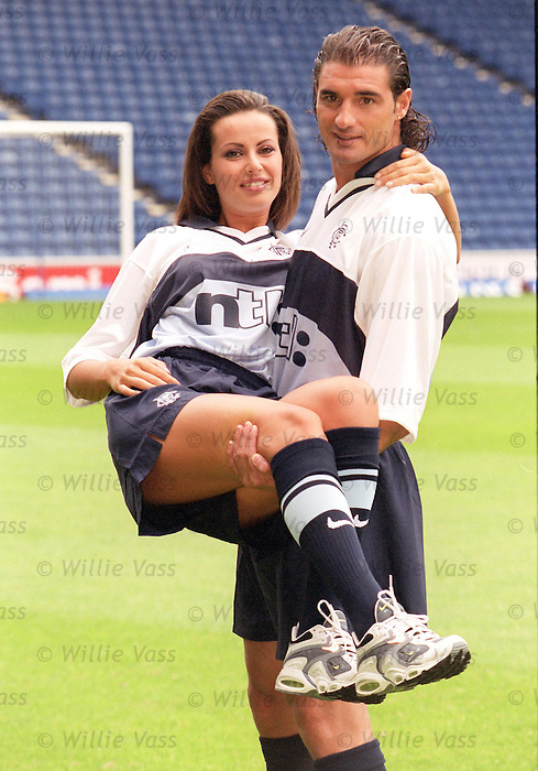 Lorenzo Amoruso with 25 year old girlfriend and model Cristina Massatti as Rangers show their new away stips in July 1999