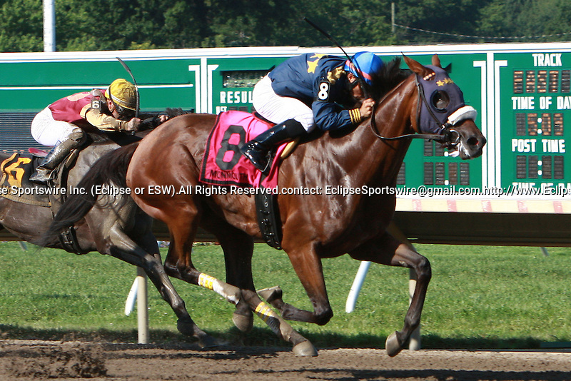 Brushed by a Star with Cory Nakatani win the 67th Running of the Grade III Molly Pitcher for fillies & mares, 3-year old & up, going 1 1/16 mile. Trainer Grant T. Forster.  Owner Team Forster