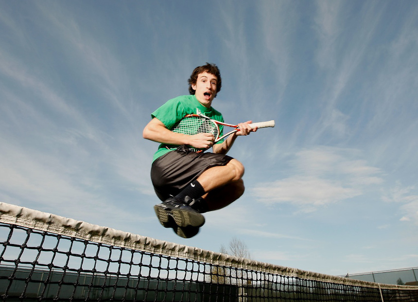 COVINGTON WA - MARCH 24 2010 Max Manthou boys tennis player at Kentwood High School. (Kevin P. Casey for Rise Magazine)