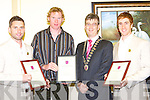 Killarney Mayor Patrick O'Donoghue presents Killarney Rowers Paul Griffin, Sean Casey and Cathal Moynihan a certificate in recognition of the Killarney Town Council civic reception to honour their appearance in the 2008 Beijing Olympics .   Copyright Kerry's Eye 2008