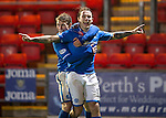 St Johnstone v Motherwell......27.10.13      SPFL<br /> Stevie May celebrates his goal with David Wotherspoon<br /> Picture by Graeme Hart.<br /> Copyright Perthshire Picture Agency<br /> Tel: 01738 623350  Mobile: 07990 594431