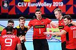 14.09.2019, Paleis 12, BrŸssel / Bruessel<br />Volleyball, Europameisterschaft, Deutschland (GER) vs. Belgien (BEL)<br /><br />Georg Grozer (#9 GER), Ruben Schott (#3 GER), Julian Zenger (#10 GER), Christian Fromm (#1 GER), Anton Brehme (#12 GER), Lukas Kampa (#11 GER)<br /><br />  Foto © nordphoto / Kurth