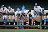 The UCLA Bruins bench watches game against the TCU Horned Frogs at the Los Angeles super regionals at Jackie Robinson Stadium on June 9, 2012 in Los Angeles,California. UCLA defeated TCU 4-1.(Larry Goren/Four Seam Images)