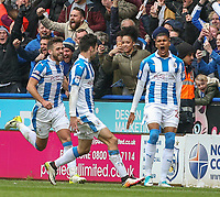 Huddersfield Town's Collin Quaner celebrates after winning the game with a late strike<br /> <br /> Photographer Alex Dodd/CameraSport<br /> <br /> The EFL Sky Bet Championship - Huddersfield Town v Preston North End - Friday 14th April 2016 - The John Smith's Stadium - Huddersfield<br /> <br /> World Copyright &copy; 2017 CameraSport. All rights reserved. 43 Linden Ave. Countesthorpe. Leicester. England. LE8 5PG - Tel: +44 (0) 116 277 4147 - admin@camerasport.com - www.camerasport.com