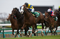FUNABASHI,JAPAN-APRIL 01: Logi Chalice #3,ridden by Hiroyuki Uchida,wins the Lord Derby Challenge Trophy at Nakayama Racecourse on April 01,2017 in Funabashi,Chiba,Japan (Photo by Kaz Ishida/Eclipse Sportswire/Getty Images)