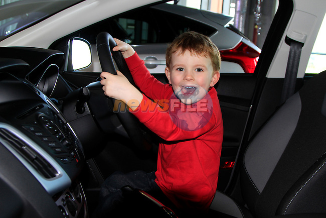 Cillian Farrell testing out the new Focus at the motorshow in the Southgate Shopping centre..Picture www.newsfile.ie