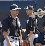 (R-L) Masahiro Tanaka, Joe Girardi (Yankees),<br /> FEBRUARY 22, 2015 - MLB :<br /> Masahiro Tanaka of the New York Yankees practices pitching in the bullpen during the New York Yankees spring training camp in Tampa, Florida, United States. (Photo by AFLO)