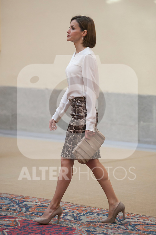 Queen Letizia of Spain attends a reception at El Pardo palace in Madrid, Spain. June 22, 2015. (ALTERPHOTOS/Victor Blanco)