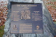 "The Gage Accident plaque in Cavendish, Vermont USA which is part of scenic New England. This plaque is for Phineas P Gage known as the ""Man With a Metal Rod in His Head"". On September 13, 1848 while working for the Rutland & Burlington Railroad, Phineas P Gage suffered massive brain damage when a 3 foot long tamping iron was blown through is head. The most interesting part of the story is he recovered from the injury, but was mentally never the same."