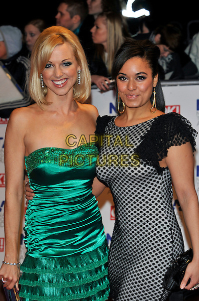 SARAH MANNERS & MEL RYDER.The 15th National Television Awards held at the O2 Arena, London, England. .January 20th, 2010 .NTA NTAs half length dress green strapless silk satin  white black grey gray lace pattern dangling gold earrings .CAP/PL.©Phil Loftus/Capital Pictures.