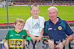 Diarmuid McCarthy, Castleisland with Jason and Jerome Browne, Scartaglen Kerry fans at the Munster Senior Football Final in Fitzgerald Stadium in Killarney on Sunday.