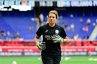 HARRISON, NJ - SEPTEMBER 29: Orlando Pride goalkeeper Haley Kopmeyer #28 during a game between Orlando Pride and Sky Blue FC at Red Bull Arena on September 29, 2019 in Harrison, New Jersey.
