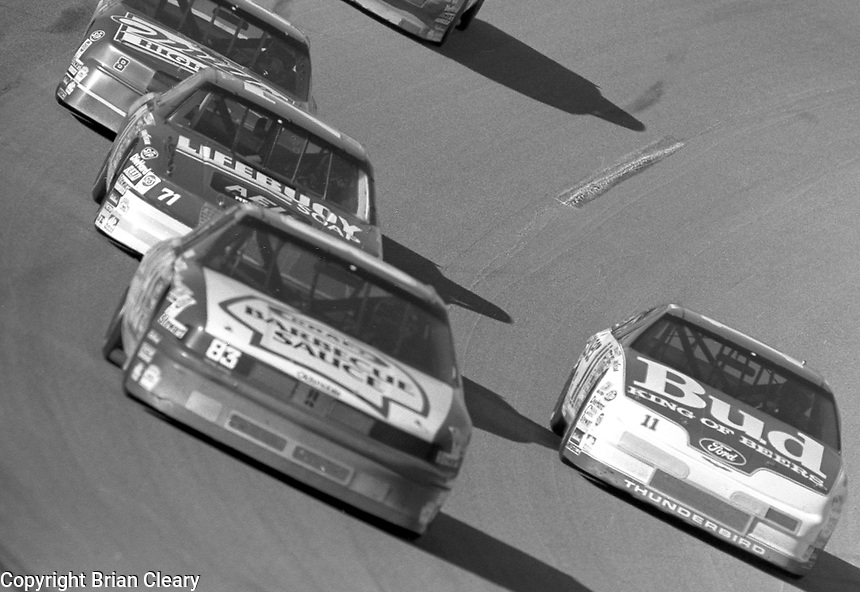 turn 4 action Winston 500 at Talladega Superspeedway in Talladega , AL in May 1989.  (Photo by Brian Cleary/www.bcpix.com)