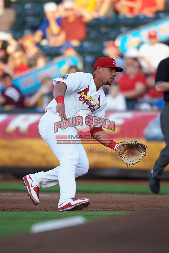 Springfield Cardinals first baseman Jonathan Rodriguez (28) fields a ground ball during a game against the Frisco RoughRiders  on June 4, 2015 at Hammons Field in Springfield, Missouri.  Frisco defeated Springfield 8-7.  (Mike Janes/Four Seam Images)