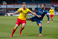 8th February 2020; Dens Park, Dundee, Scotland; Scottish Championship Football, Dundee versus Partick Thistle; Darren Brownlie of Partick Thistle challenges for the ball with Kane Hemmings of Dundee
