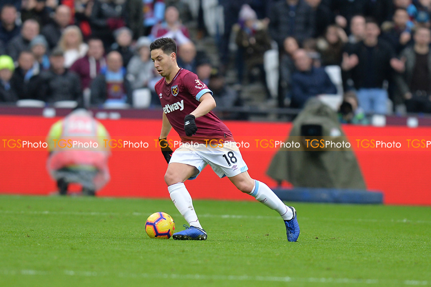 Samir Nasri of West Ham United during West Ham United vs Arsenal, Premier League Football at The London Stadium on 12th January 2019