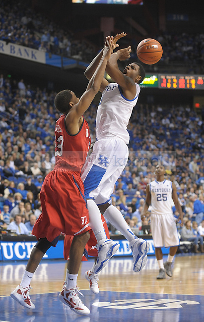 Kentucky Wildcats forward Terrence Jones (3) is fouled during the second half of the University of Kentucky Men's basketball game against Radford at Rupp Arena in Lexington, Ky., on 11/23/11. Uk led the game at half 88-40. Photo by Mike Weaver | Staff