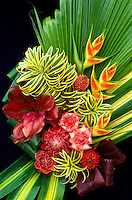 Arrangement of heliconia, gingers, bromeliad and foliage