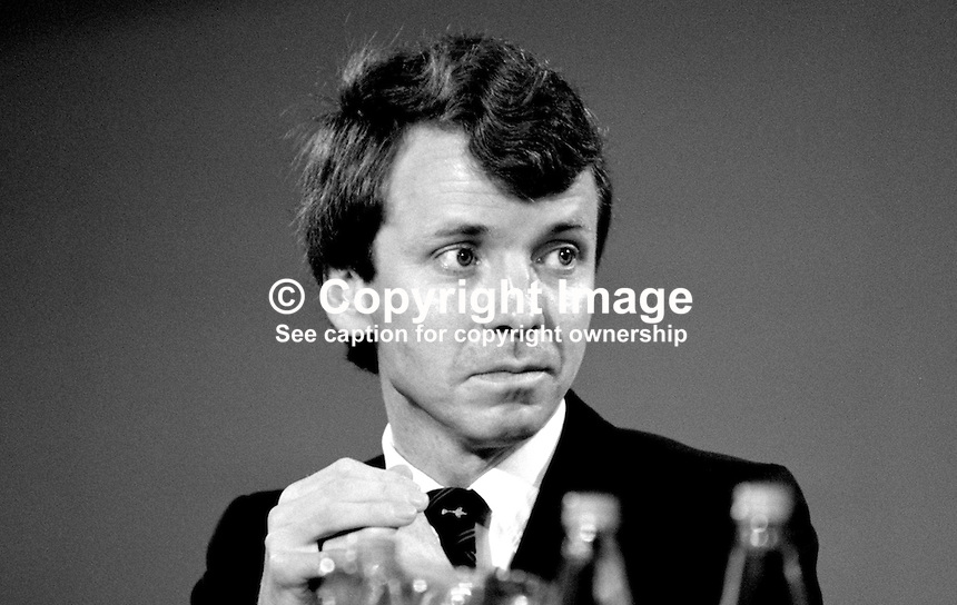 Colin Moynihan, MP, Conservative Party, Under-Secretary, Dept of the Environment, 19871036CM.<br /> <br /> Copyright Image from Victor Patterson, 54 Dorchester Park, Belfast, UK, BT9 6RJ<br /> <br /> t1: +44 28 9066 1296 (from Rep of Ireland 048 9066 1296)<br /> t2: +44 28 9002 2446 (from Rep of Ireland 048 9002 2446)<br /> m: +44 7802 353836<br /> <br /> e1: victorpatterson@me.com<br /> e2: victorpatterson@gmail.com<br /> <br /> The use of any of my copyright images is subject to my Terms &amp; Conditions. It is IMPORTANT that you familiarise yourself with them. They are available at my website, victorpatterson.com.<br /> <br /> None of my copyright images may be used on the Internet unless they are visibly watermarked, i.e. &copy; Victor Patterson within the body of the image. My metadata, denoting my copyright must NOT be deleted. <br /> <br /> Web use is extra at currently recommended NUJ rates. Maximum permitted web size is<br />  400kb. <br /> <br /> Images must not be passed on to a third party - they are for the use of the authorised recipient only.