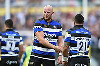 Matt Garvey of Bath Rugby celebrates a try. Aviva Premiership match, between Bath Rugby and Saracens on September 9, 2017 at the Recreation Ground in Bath, England. Photo by: Patrick Khachfe / Onside Images