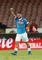 Napoli's Lorenzo Insigne celebrates after scoring during the  italian serie a soccer match against   ,    at  the San  Paolo   stadium in Naples  Italy , September 26 , 2015