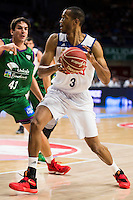Real Madrid's player Anthony Randolph and Unicaja Malaga's player Carlos Suarez during match of Liga Endesa at Barclaycard Center in Madrid. September 30, Spain. 2016. (ALTERPHOTOS/BorjaB.Hojas) /NORTEPHOTO.COM