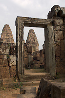 When it was built by the Khmer Emperor, Rajendravarman, in the 10th century, East Mebon temple was on an island in the middle of a reservoir that was dug out about half a century earlier. The approach today across the dry bed of the reservoir gives the temple an appearance of extraordinary height.
