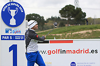 Ricardo Gouveia (POR) on the 1st tee during Round 1 of the Open de Espana 2018 at Centro Nacional de Golf on Thursday 12th April 2018.<br /> Picture:  Thos Caffrey / www.golffile.ie<br /> <br /> All photo usage must carry mandatory copyright credit (&copy; Golffile | Thos Caffrey)
