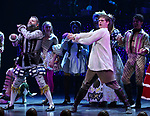 Jeremy Kushnier and Andrew Durand and cast perform during a special curtain call at Broadway's 'Head Over Heels' on July 12, 2018 at the Hudson Theatre in New York City.