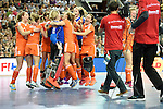 Leipzig, Germany, February 08: Players of The Netherlands celebrate after defeating Germany 1-2 after shoot-out to win the FIH Indoor Hockey World Cup on February 8, 2015  at Arena Leipzig in Leipzig, Germany. Final score 1-2 after shoot out. (Photo by Dirk Markgraf / www.265-images.com) *** Local caption ***