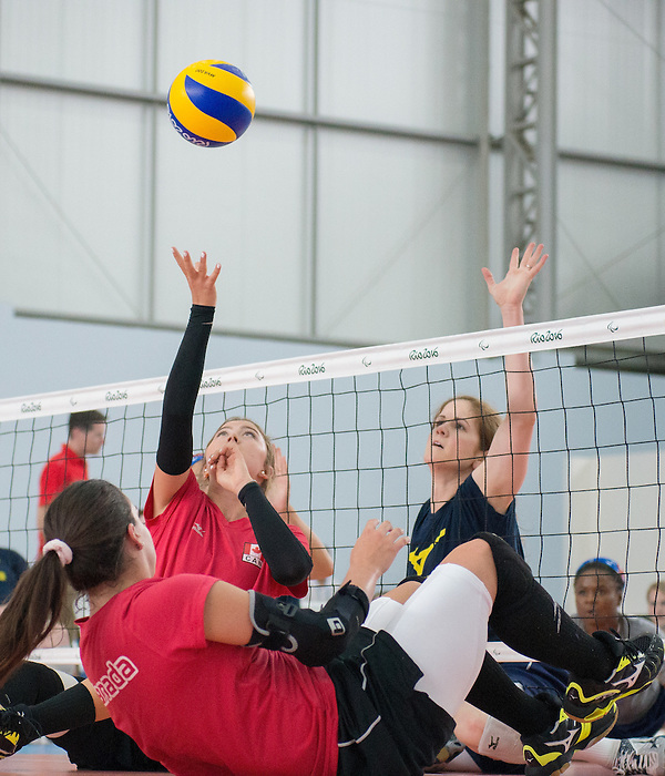 RIO DE JANEIRO - 6/9/2016:  Jennifer Oakes of Canada's Womens Sitting Volleyball team during a practice match vs Team USA at the Paralympic Village at the Rio 2016 Paralympic Games. (Photo by Matthew Murnaghan/Canadian Paralympic Committee