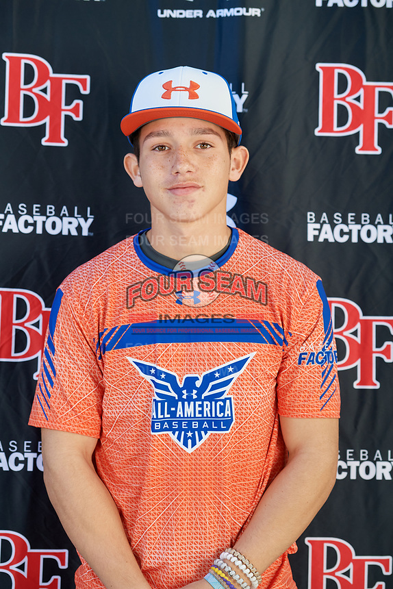 Angel Alverio during the Under Armour All-America Tournament powered by Baseball Factory on January 17, 2020 at Sloan Park in Mesa, Arizona.  (Mike Janes/Four Seam Images)
