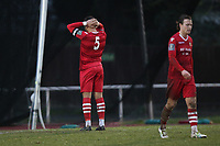 Despair for Nathan Cooper of Hornchurch after his team conced a late goal to make it 2-2 during Hornchurch vs Merstham, BetVictor League Premier Division Football at Hornchurch Stadium on 15th February 2020