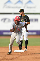 Ivan Johnson (4) of the Greeneville Reds in action against the Bristol Pirates at Boyce Cox Field on July 31, 2019 in Bristol, Virginia. The Pirates defeated the Reds 13-3. (Tracy Proffitt/Four Seam Images)
