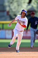 Buffalo Bisons shortstop Jonathan Diaz (1) runs the bases during a game against the Lehigh Valley IronPigs on May 17, 2014 at Coca-Cola Field in Buffalo, New  York.  Lehigh Valley defeated Buffalo 2-1  (Mike Janes/Four Seam Images)