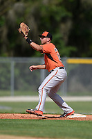 First baseman Chris Marrero (14) of the Baltimore Orioles organization during a minor league spring training camp day game on March 23, 2014 at Buck O'Neil Complex in Sarasota, Florida.  (Mike Janes/Four Seam Images)