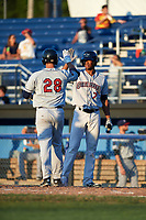 Mahoning Valley Scrappers Will Benson (7) high fives Simeon Lucas (28) after a home run during a game against the Batavia Muckdogs on August 16, 2017 at Dwyer Stadium in Batavia, New York.  Batavia defeated Mahoning Valley 10-6.  (Mike Janes/Four Seam Images)